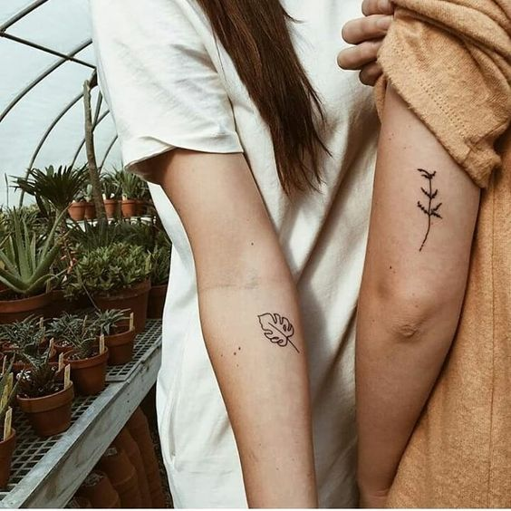 Minimalist Botanical Matching Tattoos- 27 matching tattoos for couples that last longer than a ring - OurMindfulLife.com