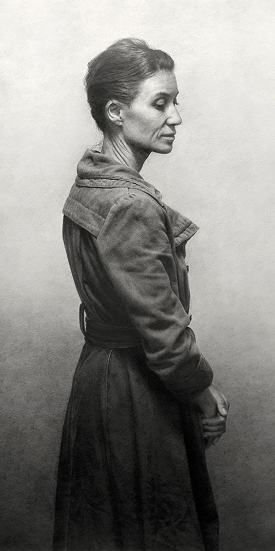"""Mujer con Abrigo"" by Marcos Rey, standing mature woman profile, pencil on paper drawing. marcosrey.es:"