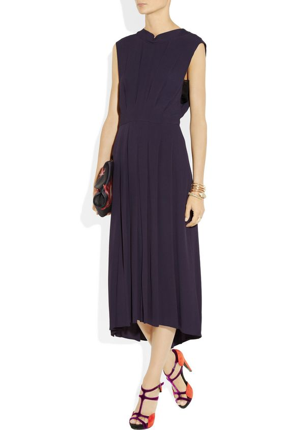 Rebecca Taylor - Pleated crepe and silk-chiffon dress (front)