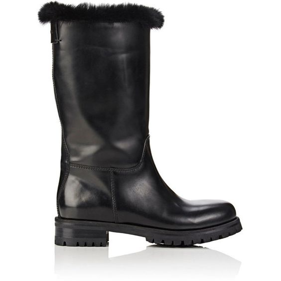 Dolce & Gabbana Women's Fur-Lined Leather Moto Boots ($749) ❤ liked on Polyvore featuring shoes, boots, black, mid-calf boots, black mid calf boots, black motorcycle boots, black leather mid calf boots, mid calf boots and motorcycle boots