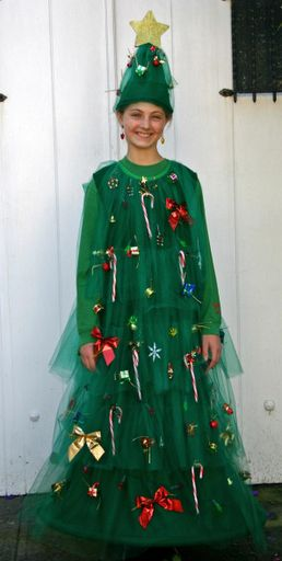 Christmas tree costume for A. Could do this for Halloween and christmas aswell