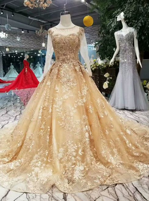 Champagne Gold Ball Gown Lace Long Sleeve Wedding Dress With