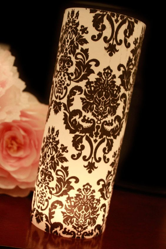 Damask wedding decor black white