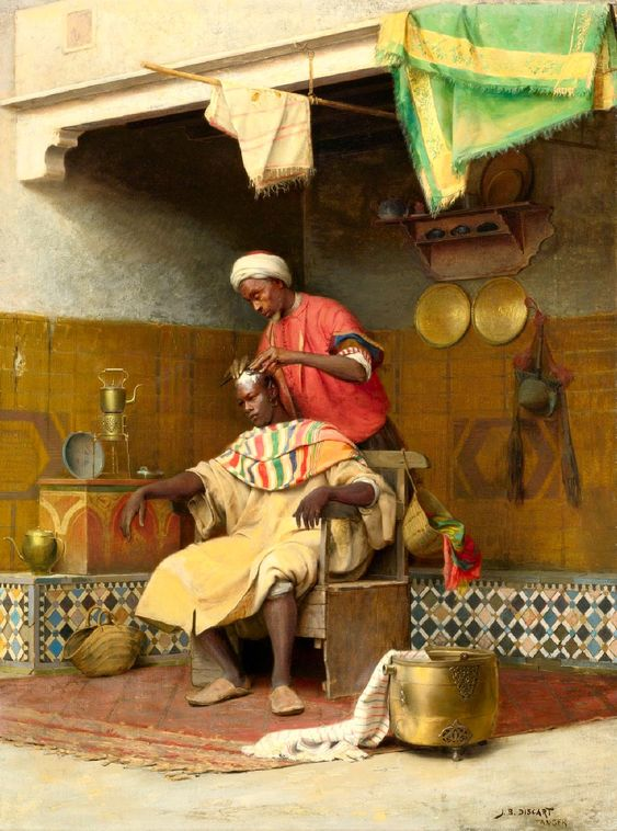 Jean Discart, The Barber Shop, Tangiers, date unknown, Oil on canvas, 115,7 x 84,4 cm, Private Collection