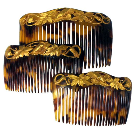 Antique 3 Tortoise Shell Hair Comb Set in Box, Gold Mounted