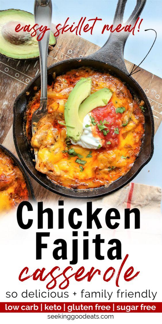 Skillet Chicken Fajita Casserole (Low Carb and Keto Casserole)