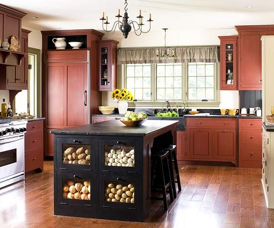 Red cabinets cabinets and islands on pinterest for Black country kitchen cabinets