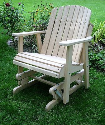 Amish oak barrel glider chair wood outdoor furniture - Muebles para patio ...