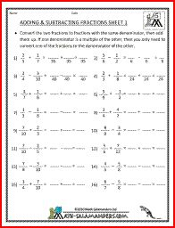 math worksheet : adding subtracting fractions 5th grade printable fraction  : Adding Subtracting And Multiplying Fractions Worksheets