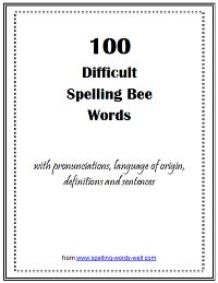 diffiult spelling bee words pdf
