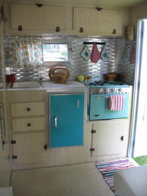 camper kitchen redo rv there yet i like the tin backsplash