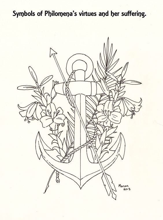 A picture to colour. Symbols of St. Philomena. manondanielsmassari@gmail.com