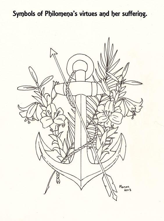 A picture to colour. Symbols of St. Philomena. manondanielsmassari@gmail.com