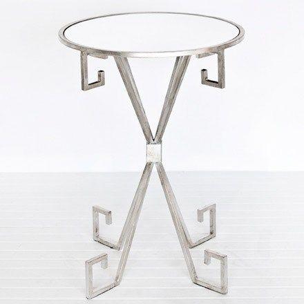 Just in! Worlds Away August Silver Leaf Side Table from @zinc_door #zincdoor #greekkey #table