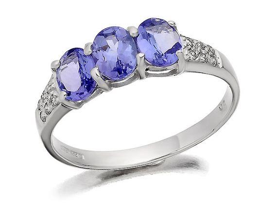 9ct White Gold Diamond and Tanzanite Ring H Samuel the Jeweller