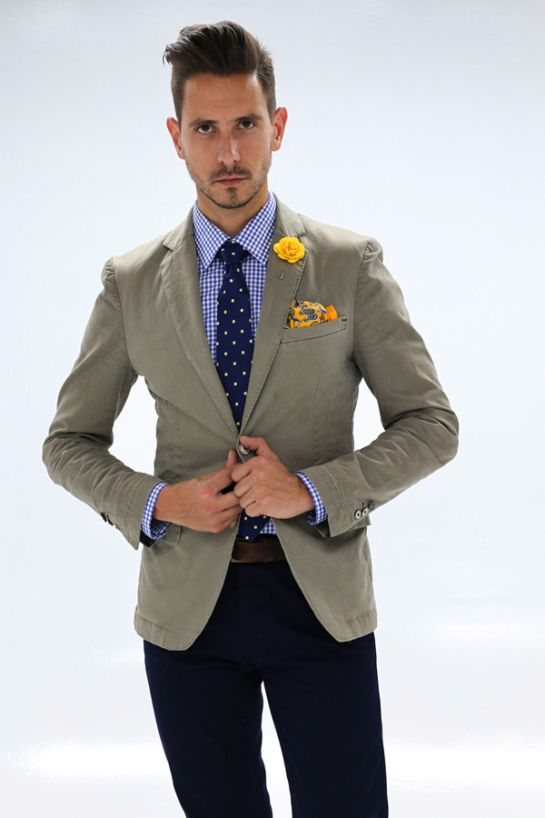 Mens Fashion - Khaki blazer, checked shirt, polka dot tie, yellow