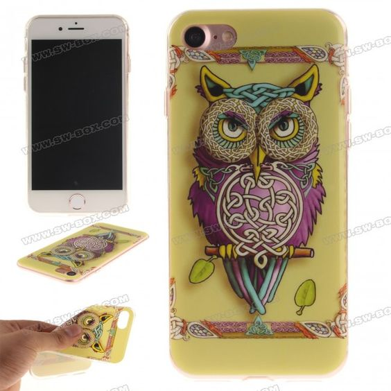 Ultra-Slim Drawing IMD TPU Back Case Cover for iPhone 7 4.7 inch - Colorful owl