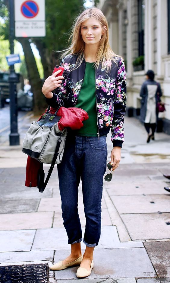 Flower bomber jacket paired with cropped jeans: