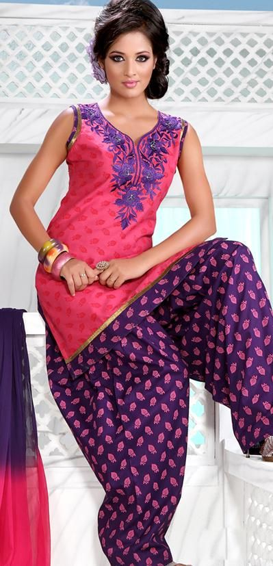 Pink Sleeveless Cotton Short Punjabi Salwar Kameez 18716