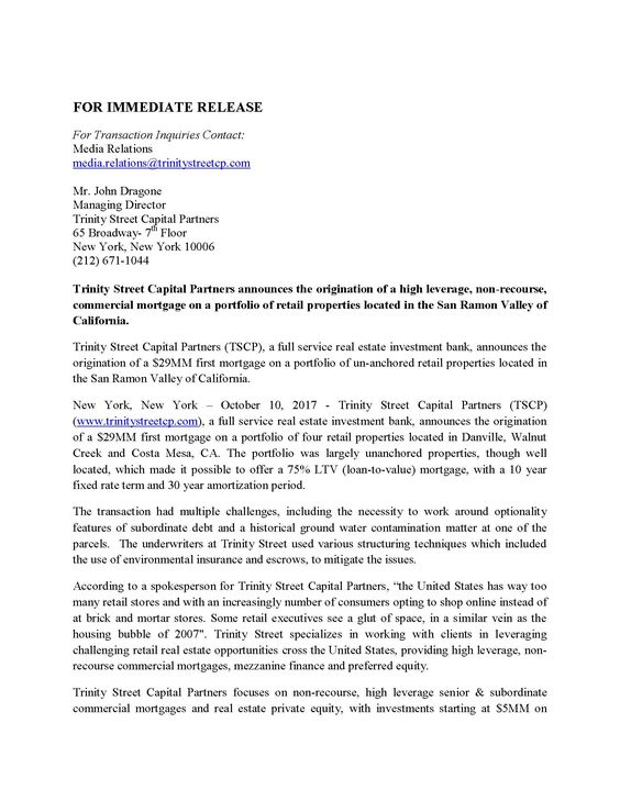 Pin by John Dragone on Press Releases- Trinity Street Capital - cover letter sample for hr position