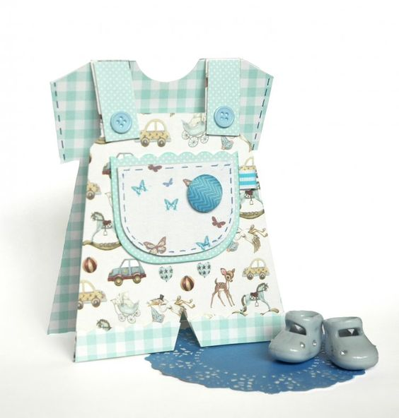 Baby Card Ideas - Essential products for this project can be found on Crafting.co.uk - for all your crafting needs. - It's A Boy Baby Dungaree Card Tutorial with Free Craft Template