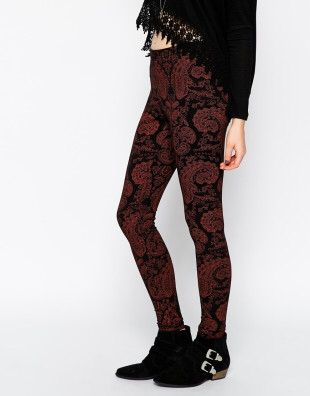 Asos Leggings In Boho Festival Paisley in Red