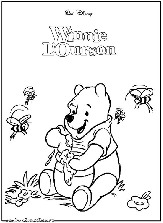 coloriages winnie lourson winnie aime le miel a imprimer