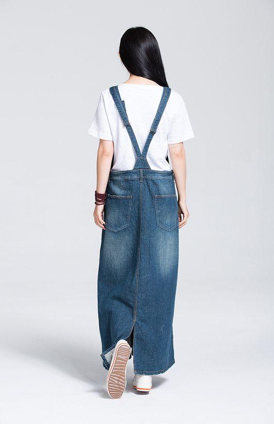 Frete grátis 2016 moda alcinhas Denim uma peça só vestidos moda suspensórios para mulheres Jeans longo Maxi vestido Plus Size em Vestidos de Moda e Acessórios no AliExpress.com   Alibaba Group