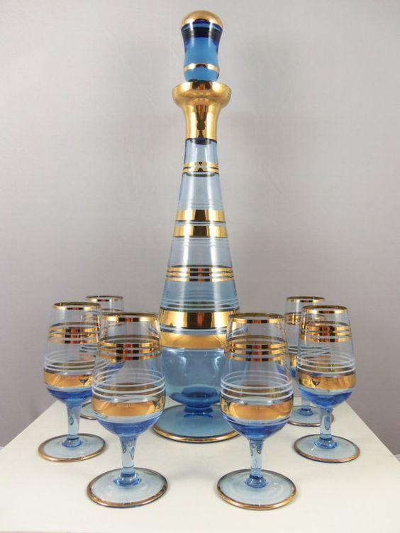 art deco decanter set blue gold blue gold mom and. Black Bedroom Furniture Sets. Home Design Ideas