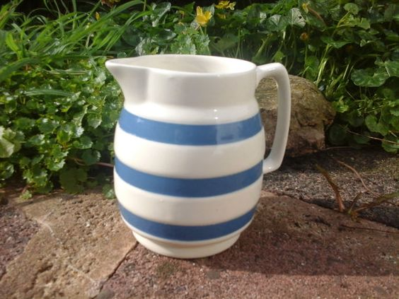 Vintage Blue Banded Chef Ware Cream Jug by TheCottageHeart on Etsy, £15.00