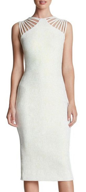 White Foiled Knit Midi Dress
