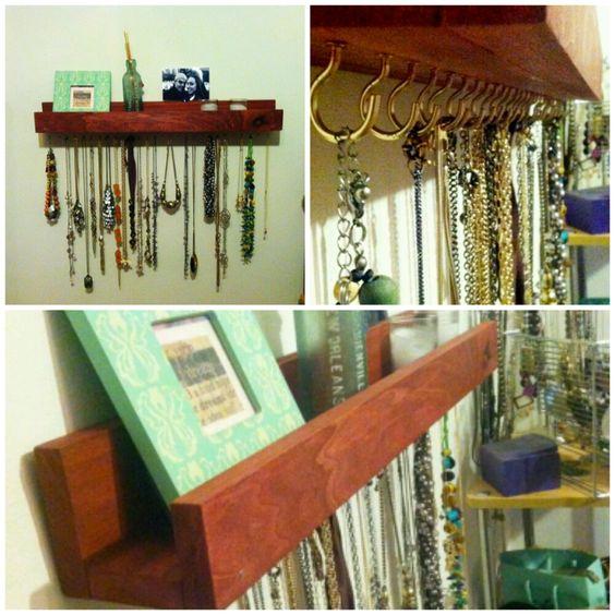 Homemade necklace shelf! Need to do!