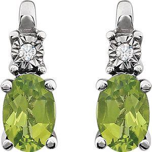 Peridot & Diamond Accented Earrings Item #651536