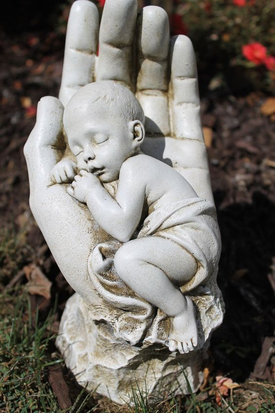 In God's Hands Miscarriage Baby Memorial Garden Statue