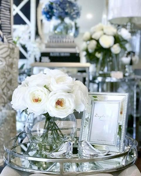 Luxury Silver Round Mirrored Tray With Handles Glass Tray Decor Silver Tray Decor Table Decor Living Room