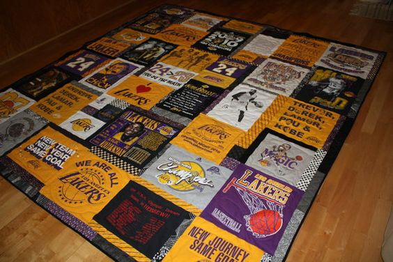 Custom made T Shirt Quilt for Sports Fan using your own LA Lakers basketball t shirts.  this seems super complicated