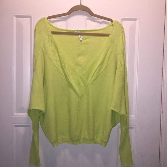 Studio Y Sweater Lime green Studio Y sweater. Can be worn off the shoulder or not. Would look great with skinny jeans and cute booties! Studio Y Sweaters Shrugs & Ponchos