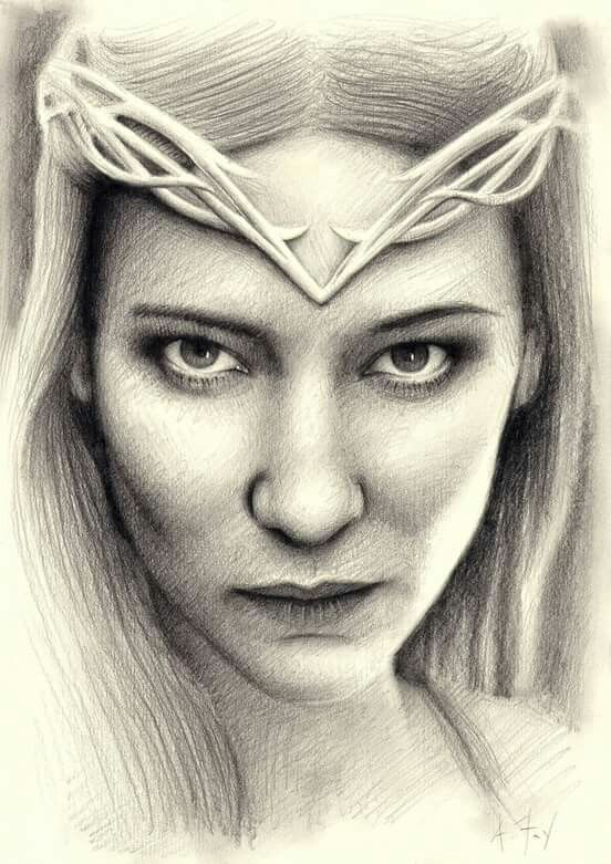 "Galadriel from ""The Hobbit"",11.7"" by 8.3"" - hand-drawn pencil on paper. #Galadriel #TheHobbit #TheLordOfTheRings #LOTR #ElvenArt #Elf #FantasyArt"