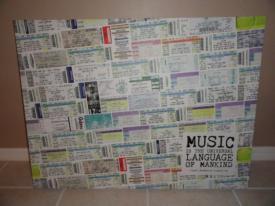 Ticket Stub Canvas Wall Art - Love this idea! Finally something to do with all those concert tickets!