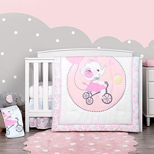 Elephant Crib Bedding Set, Purple Elephant Mini Crib Bedding