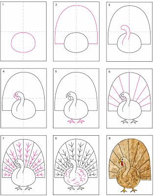 Image result for how to draw a cartoon turkey step by step for kids