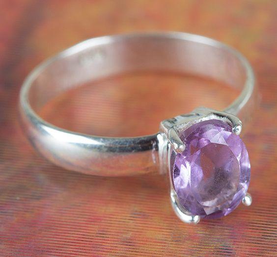 Amethyst Jewellery – Amethyst Cut Gemstone Ring, Handmade Ring – a unique…
