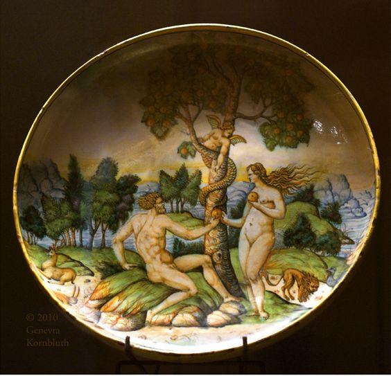 Faience platter with Adam and Eve after Bernard Salomon, c.1555, Rimini?, Louvre OA 1555