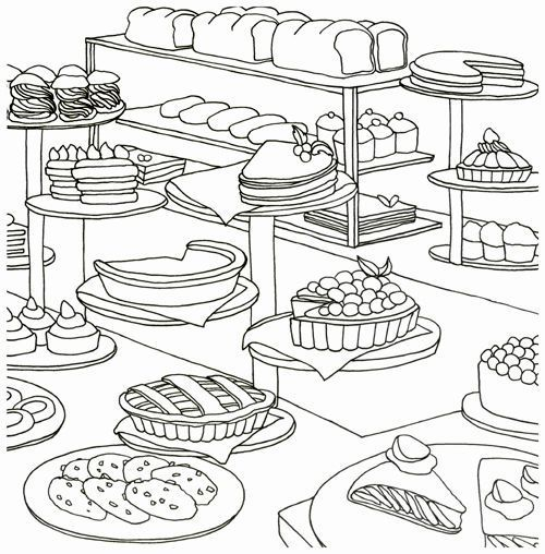 Coloring Pages Bakery Only Bakery Bread Food Coloring Book For