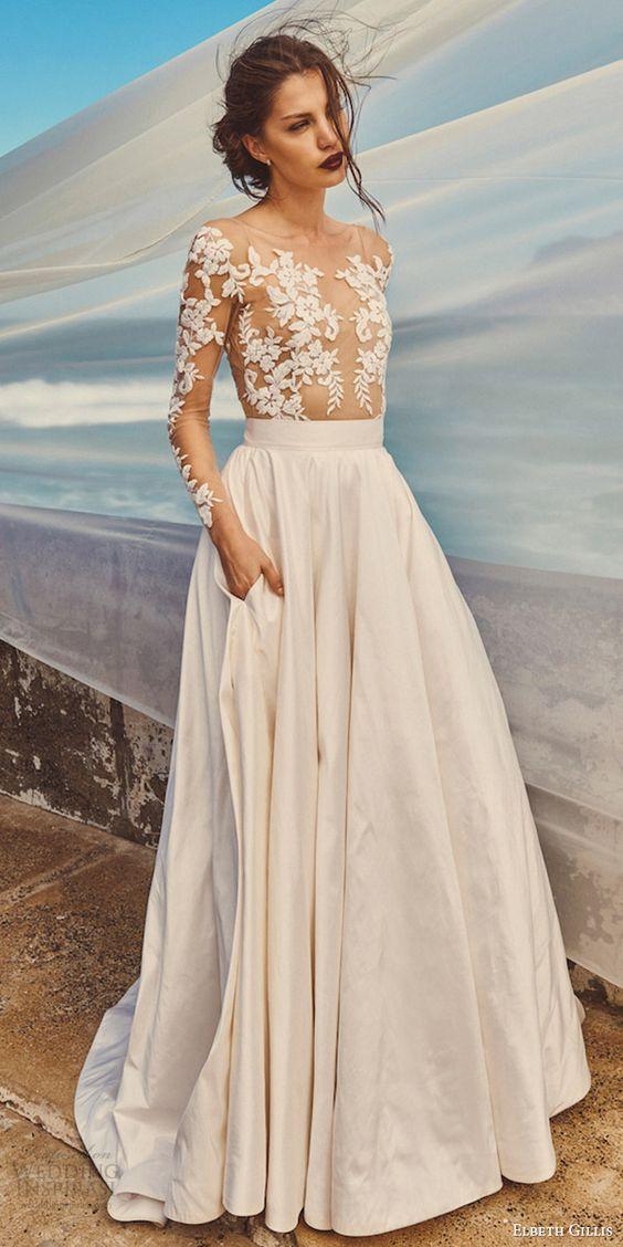Elbeth gillis milk honey 2017 bridal separates illusion long sleeves a