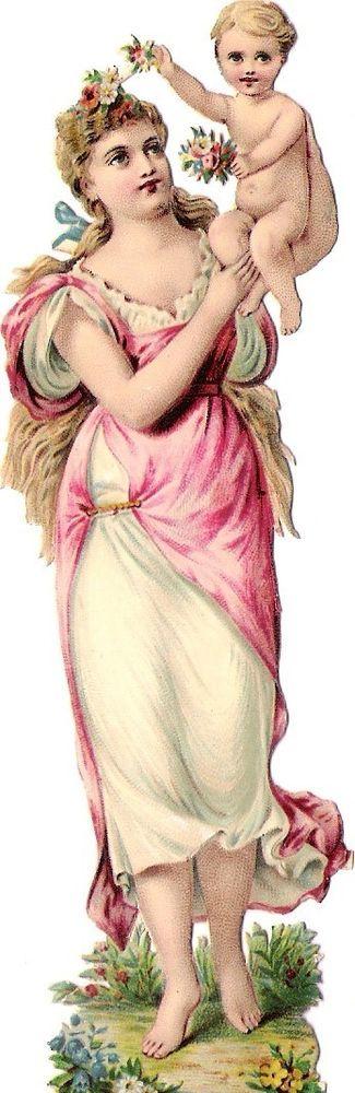 Oblaten Glanzbild scrap die cut Dame  14cm Frühling lady spring baby Jahreszeit: