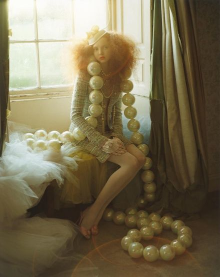 Lily Cole with giant pearls by Tim Walker