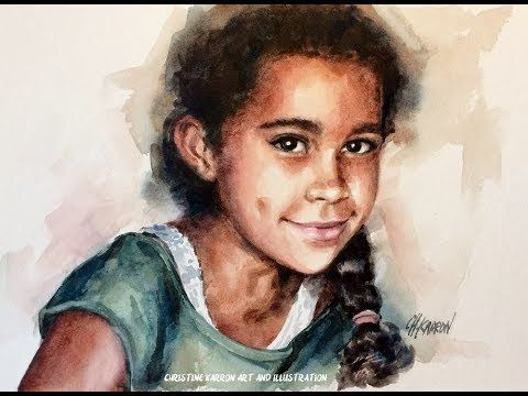 Watercolor Portrait Darker Skin Extended Version 4 Colors Only
