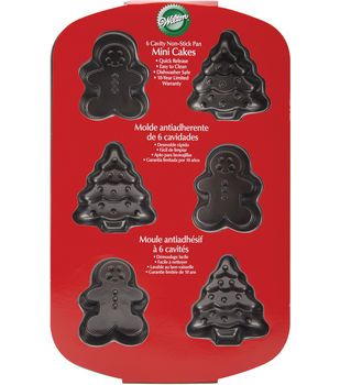 "Mini Non-Stick Cake Pan-6 Cavity Tree/Gingerbread 4.75""X1.25"""