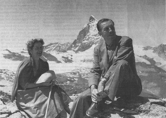 1950 Walt Disney in Switzerland, in front of the real Matterhorn (Zermatt)